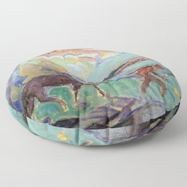 Man with a Horse, Nighttime landscape painting by William Sommer Floor Pillow