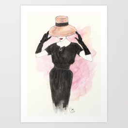 'Audrey' Watercolor Fashion Illustration Art Print