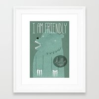 bear Framed Art Prints featuring Friendly Bear by Sarajea