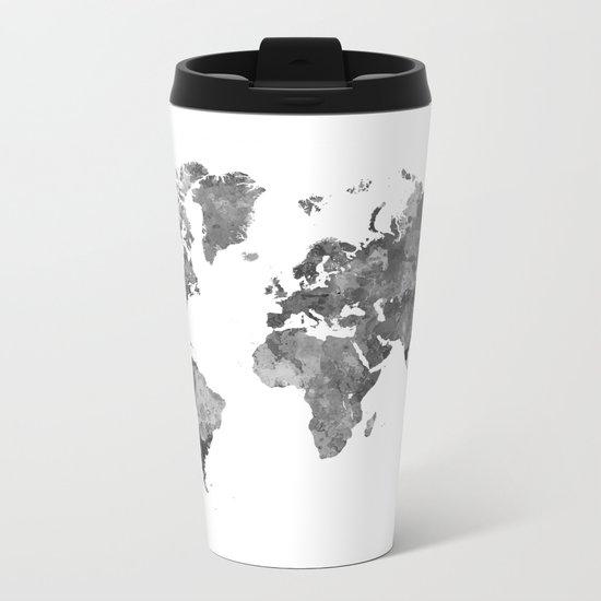 World map in watercolor gray Metal Travel Mug
