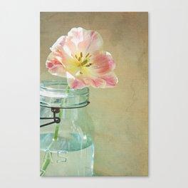 Pink Tulip on Vintage Canvas Canvas Print