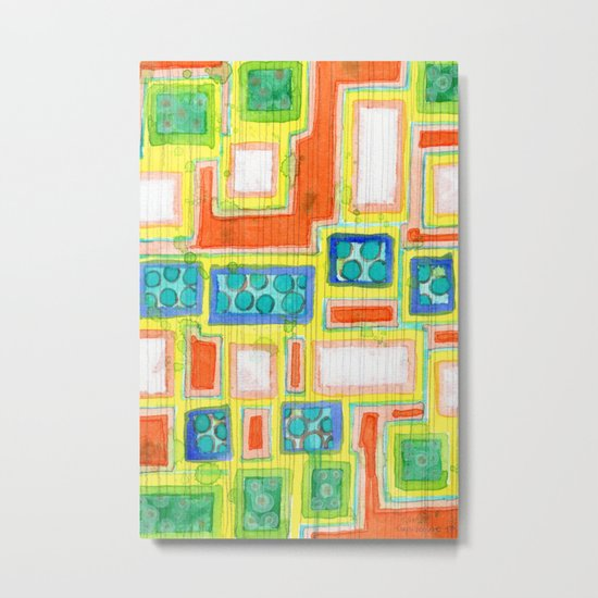 Structured Beautiful Bright Pattern with Vertical Pencil Lines Metal Print