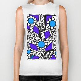 Doodle Art Flower - Pathways - Purple Blue Biker Tank