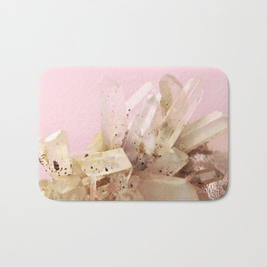 Quartz Crystals on Blush Bath Mat