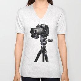Digital professional SLR black camera on tripod on white Unisex V-Neck
