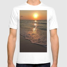 Caribbean Sunset MEDIUM White Mens Fitted Tee
