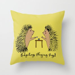 Hedgehogs Playing Pogs  Throw Pillow