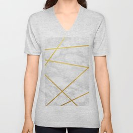 White Carrara marble with Gold Lines Unisex V-Neck