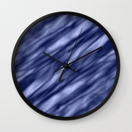 A interweaving cluster of blue bodies on a yellow background. Wall Clock