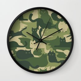 Camouflage Cats Wall Clock