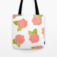roses Tote Bags featuring Roses by Paint Me Pink
