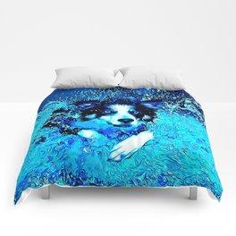 border collie jumping in water vector art crisp winter Comforters