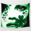 St Patrick Girl with Shamrock on Lips by bluedarkatlem