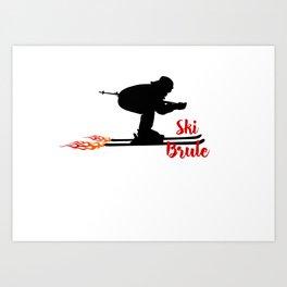 Ski speeding at Ski Brule Art Print