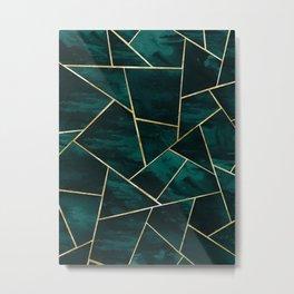 Dark Teal Ink Gold Geometric Glam #1 #geo #decor #art #society6 Metal Print