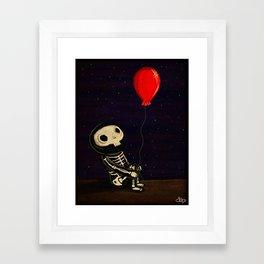 Skeleton and Red Ballon Framed Art Print