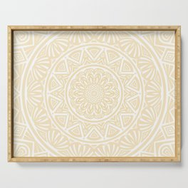 Pale Yellow Simple Simplistic Mandala Design Ethnic Tribal Pattern Serving Tray