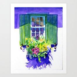 Window-box Watercolor Art Print