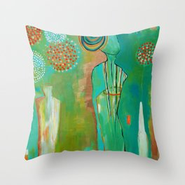 """""""Wish Believe"""" Original Painting by Flora Bowley Throw Pillow"""