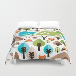 Wild camping trip with fox and wild animals illustration Duvet Cover