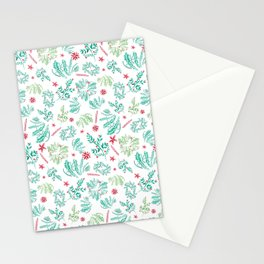 Red and Green Christmas leaves patterm Stationery Cards