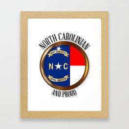 North Carolina Proud Flag Button Framed Art Print