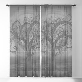 Golden Spiral Tree Black and White Sheer Curtain