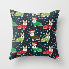 Corgi christmas sweater ugly sweater party with welsh corgis dog lovers dream christmas Throw Pillow