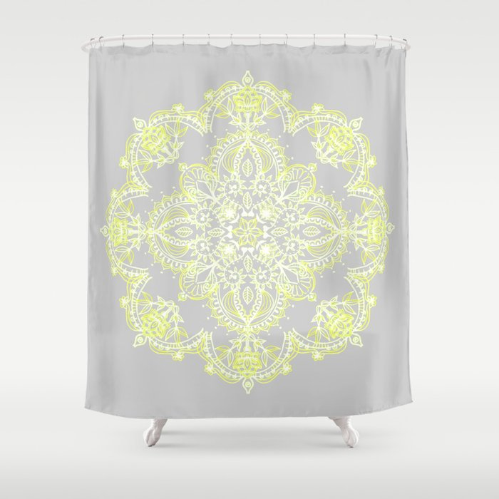 Pale Lemon Yellow Lace Mandala On Grey Shower Curtain