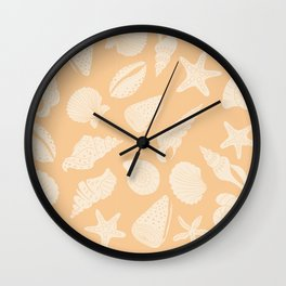 Seashells Coral Orange Wall Clock
