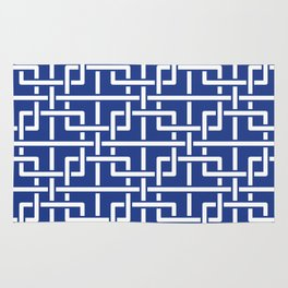 Tangled squares Chinoiserie in blue & white Rug