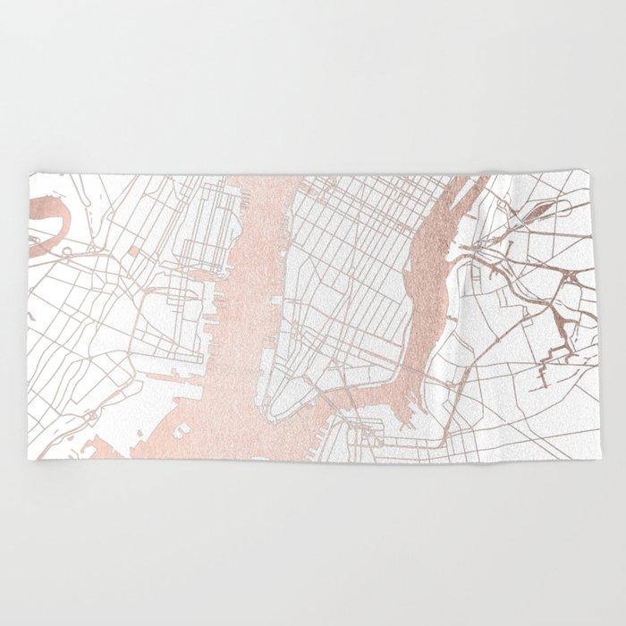 new york city white on rosegold street map beach towel