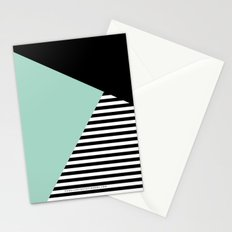 Mint Color Block with Stripes // www.penncilmeinstationery.com Stationery Cards