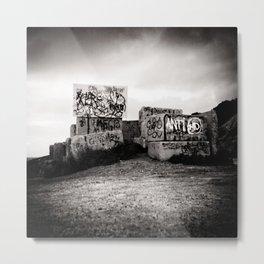 Graffiti on cement blocks, black and white square Metal Print