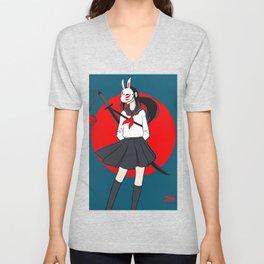 Kitsune Bunny Warrior Unisex V-Neck