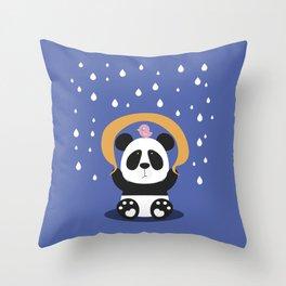 Panda Bear & Bird Friendship Throw Pillow