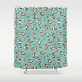Kawaii Otters Playing Underwater Shower Curtain