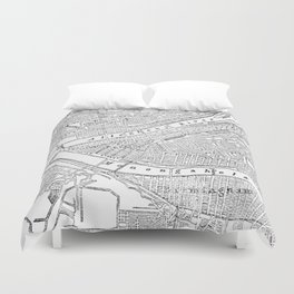 Vintage Map of Pittsburgh (1885)  Duvet Cover