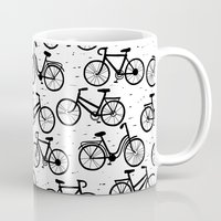 bikes Mugs featuring Bikes by sarknoem