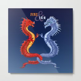 Fire & Ice Dragons Metal Print