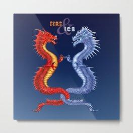 Fire & Ice Dragons Metal Print