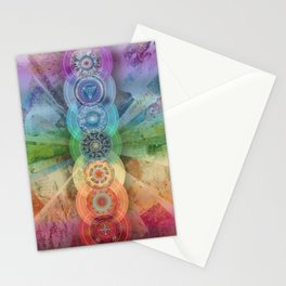 seven chakra meditation and yoga art Stationery Cards
