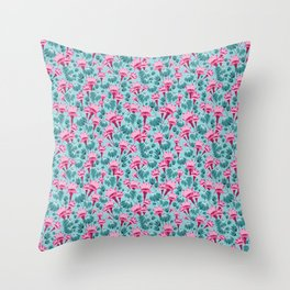 Pink & Teal Lovely Floral Throw Pillow