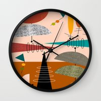 mid century modern Wall Clocks featuring Mid-Century  Modern Space Age by Kippygirl