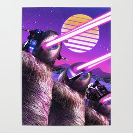 Funny Weird Laser Eyes Sloth Poster