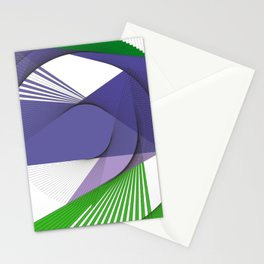 Geometric purple green abstract pattern Stationery Cards