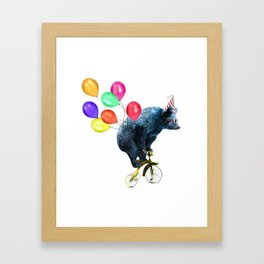 Party bear on bicycle Framed Art Print