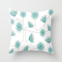 mid century Throw Pillows featuring Mid-Century Dandelion Clocks by Kippygirl