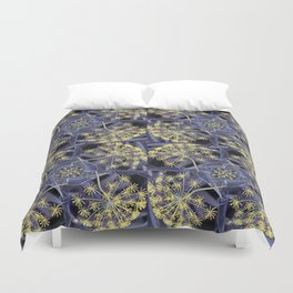Yellow Flowers and Dark Blue Garden, Yellow Dill Duvet Cover