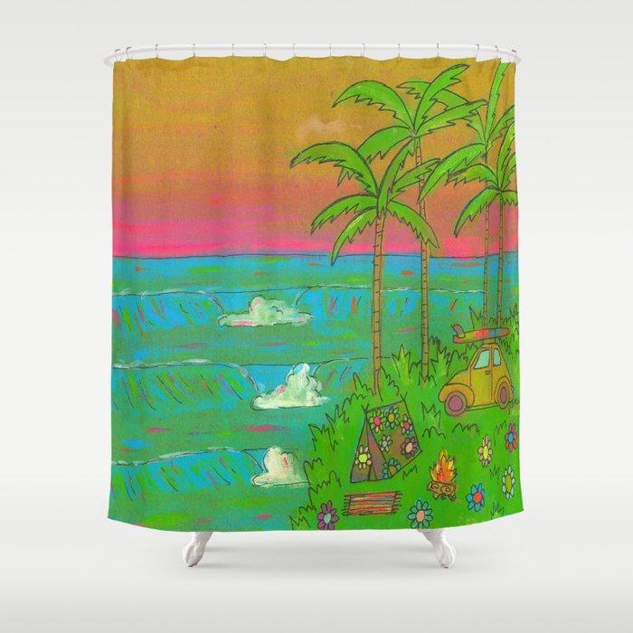 VW Beatle Bug Surf Paradise Adventure Shower Curtain By Peaceowlforest